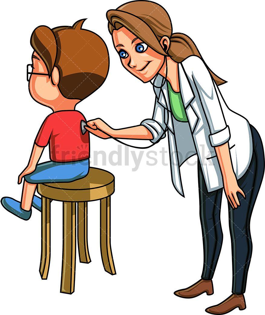 Pediatrician Listening To Kid S Back Cartoon Vector Clipart Friendlystock Cartoons Vector Kids Vector Cartoon Clip Art