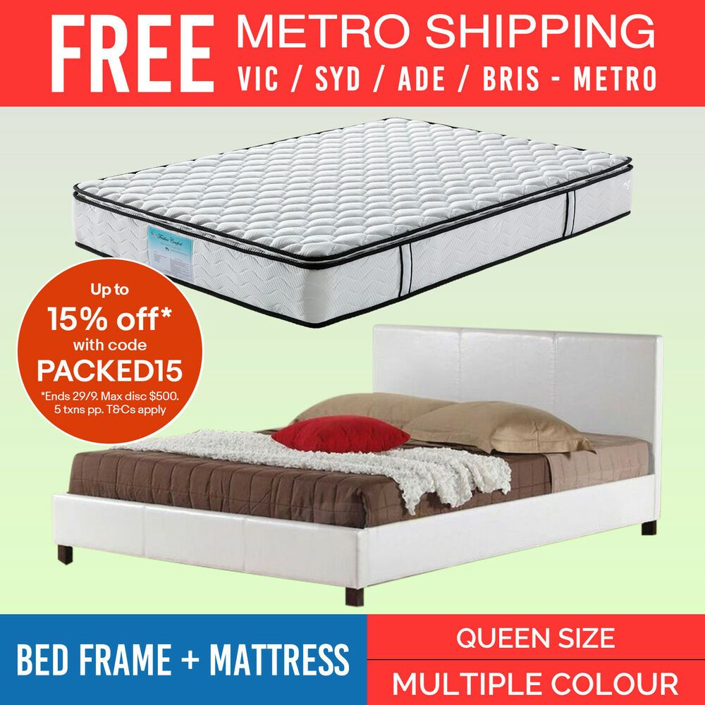 Mondeo Queen Bed Frame In Faux Leather Amp Memory Pillow Top Pocket Spring Mattres Queen Bed Frame Bed Frame Memory Pillows