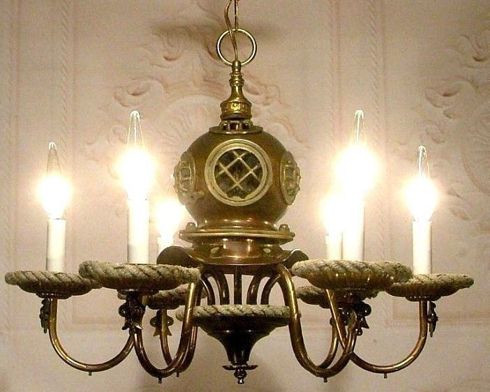 Nautical Bathroom Light Fixture: Antique Nautical Scuba Divers Helmet Chandelier Ceiling
