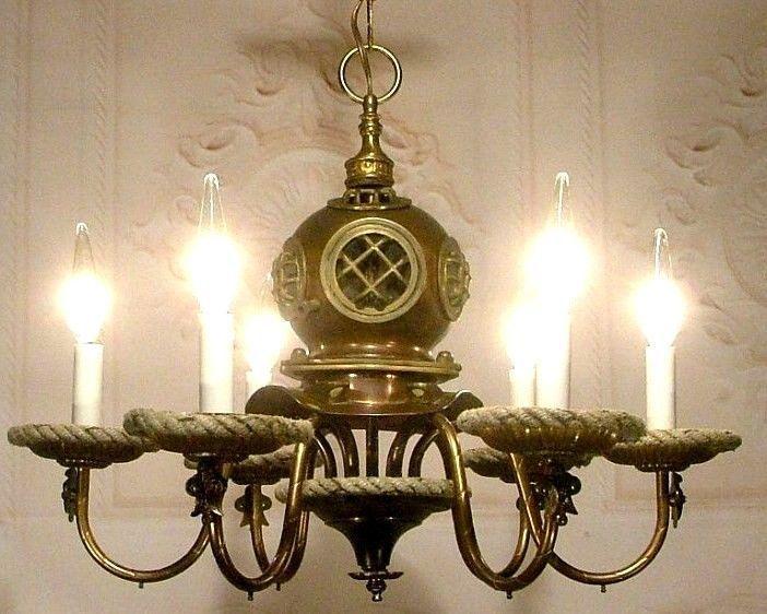 Fresnel Glass Restoration Bath Light: Antique Nautical Scuba Divers Helmet Chandelier Ceiling