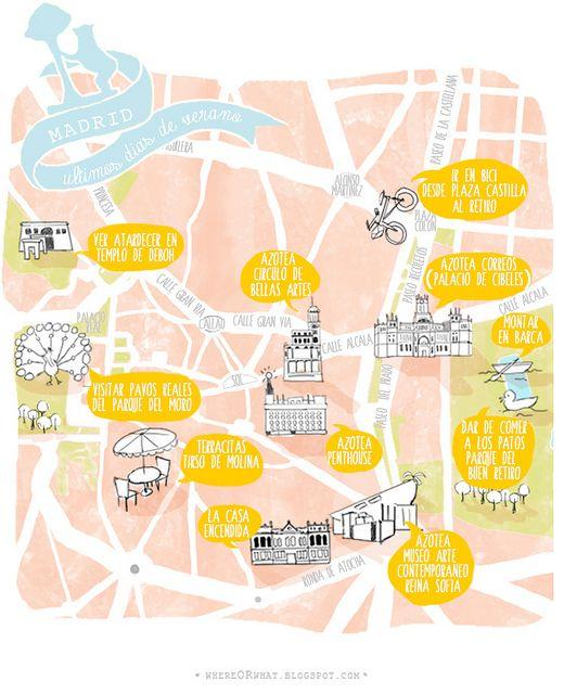 Carte Illustree Madrid Espagne Travel Map Madrid Spain Carte