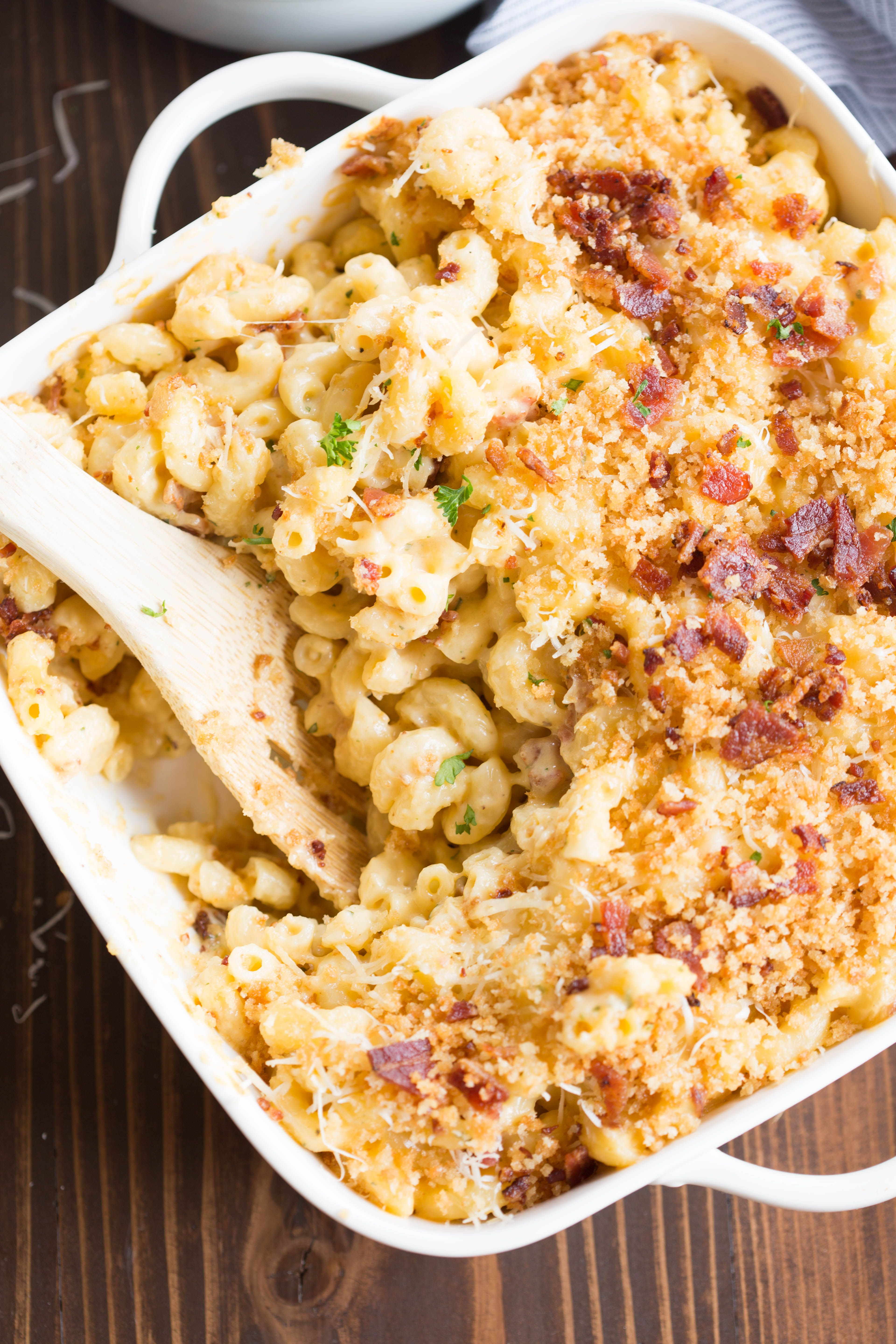 Gourmet Baked Mac And Cheese With Bacon Recipe Bacon Mac And