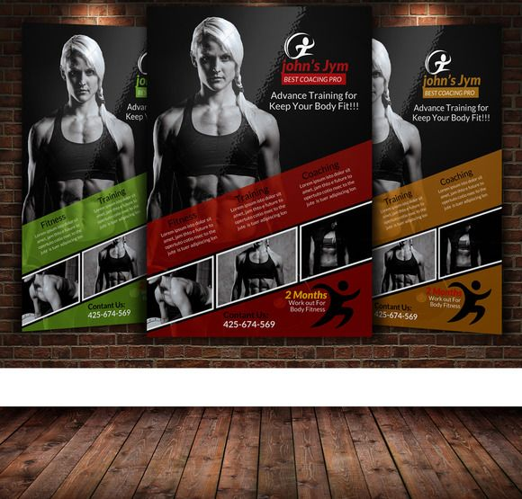 Fitness Gym Brochure Template  By Layout Design Ltd On