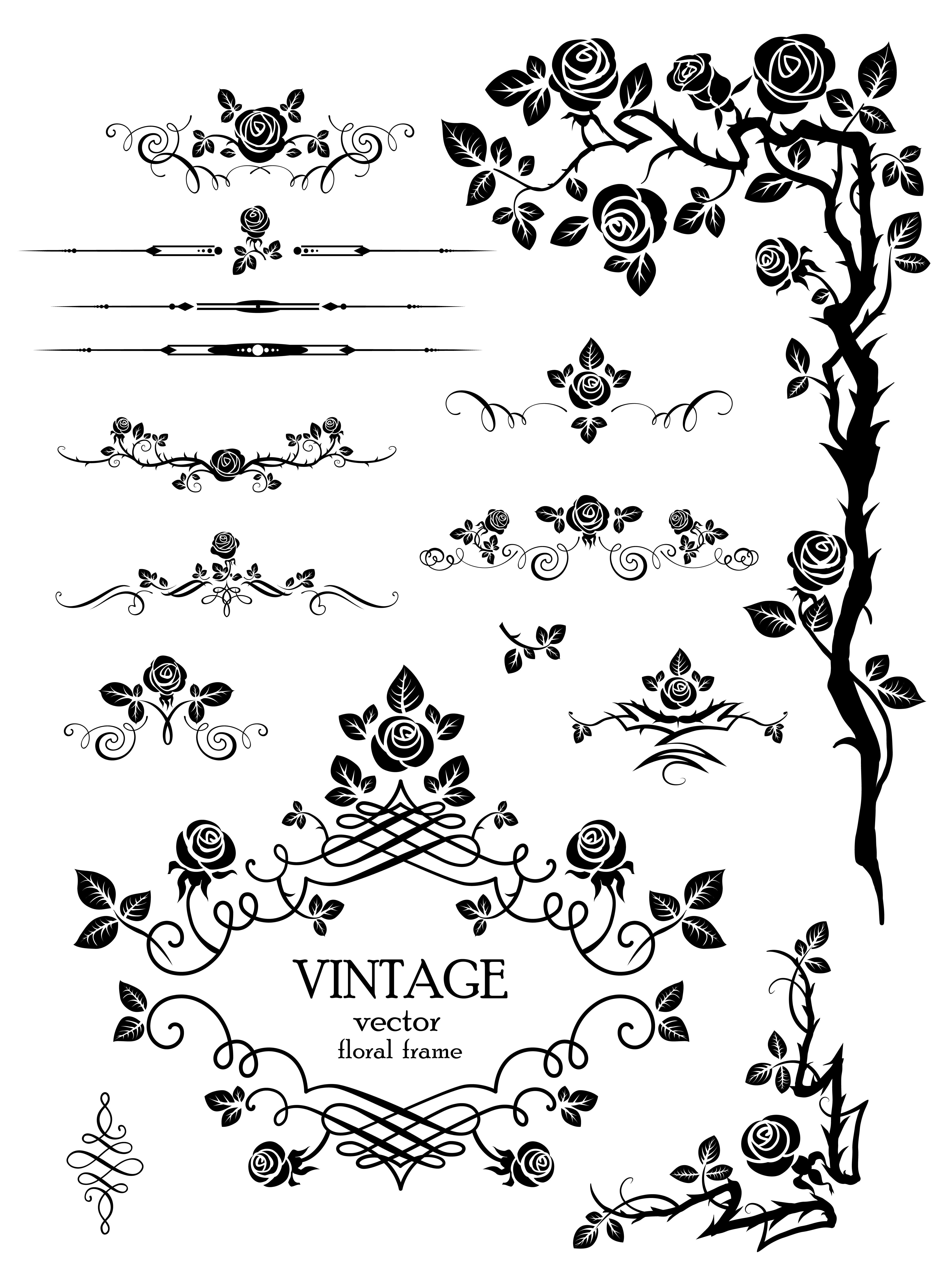 free vector Flowers silhouette lace 03 vector graphic