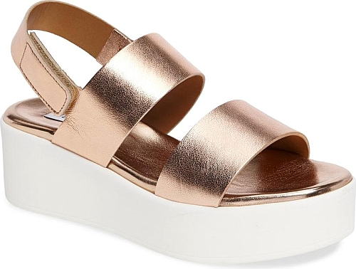 836185eb541f Women s Steve Madden Rachel Platform Wedge Sandal in Rose Gold. Two simple  bridge straps and a slingback heel add minimalist appeal to a trend-right  ...