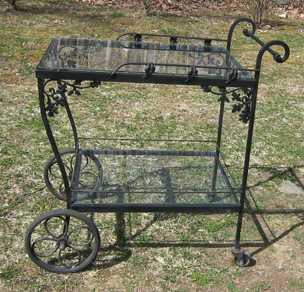 vintage russell woodard orleans bar cart by find this pin and more on vintage wrought iron patio furniture