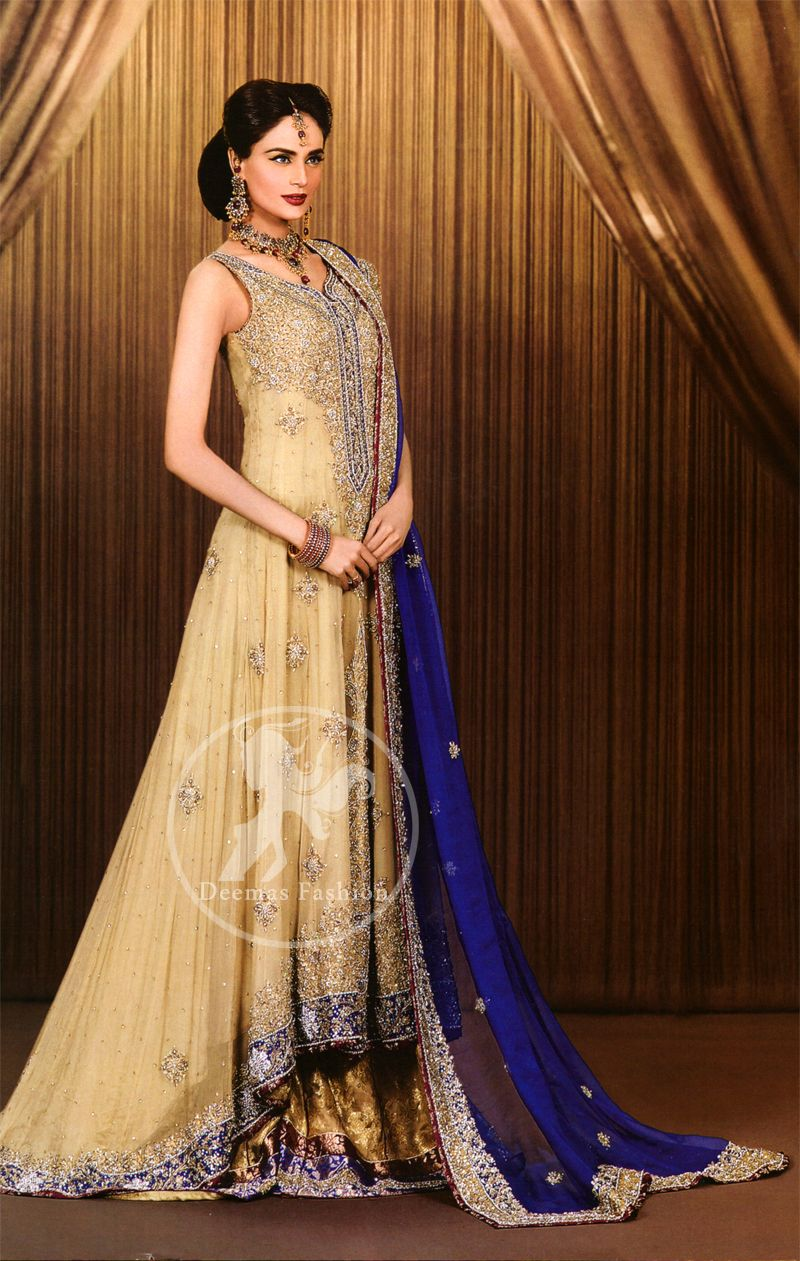 royal blue wedding dresses Light Gold Royal Blue Back Trail Wedding Frock and Embroidered Lehnga