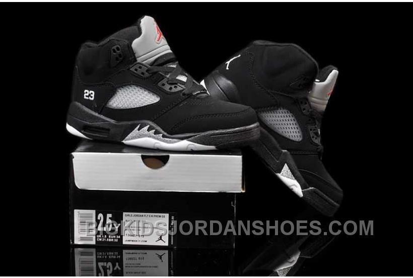 6162155f51fad7 Nike Air Jordan 5 Kids Black Metallic Silver Shoes New in 2019 ...