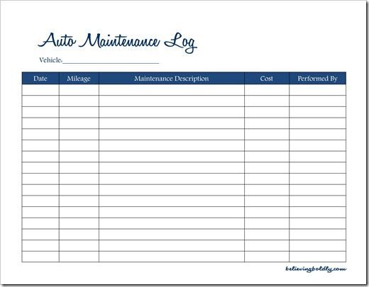 Believing Boldly Auto Maintenance LogFree Printable  Home