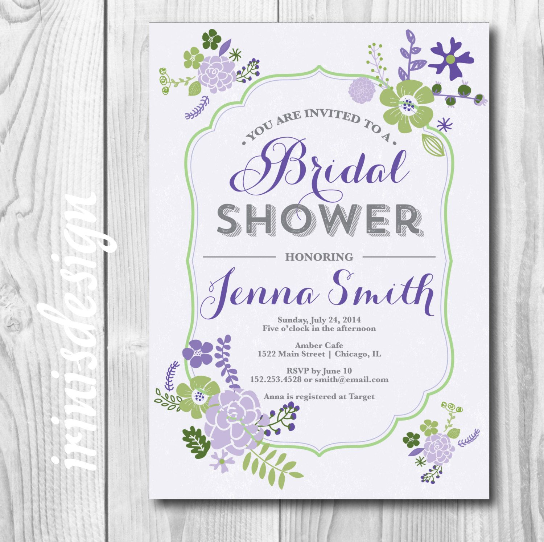 Lavender Bridal Invitation | wedding shower invite | bridal purple ...
