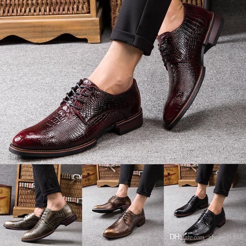 Imitation Crocodile Skin Vintage Design Men S Casual Leather Shoes Men Dress Leather Shoesblac Mens Casual Leather Shoes Casual Leather Shoes Leather Shoes Men