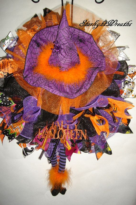 Witch Mesh Wreath Happy Halloween Witch Mesh by StarlightWreaths