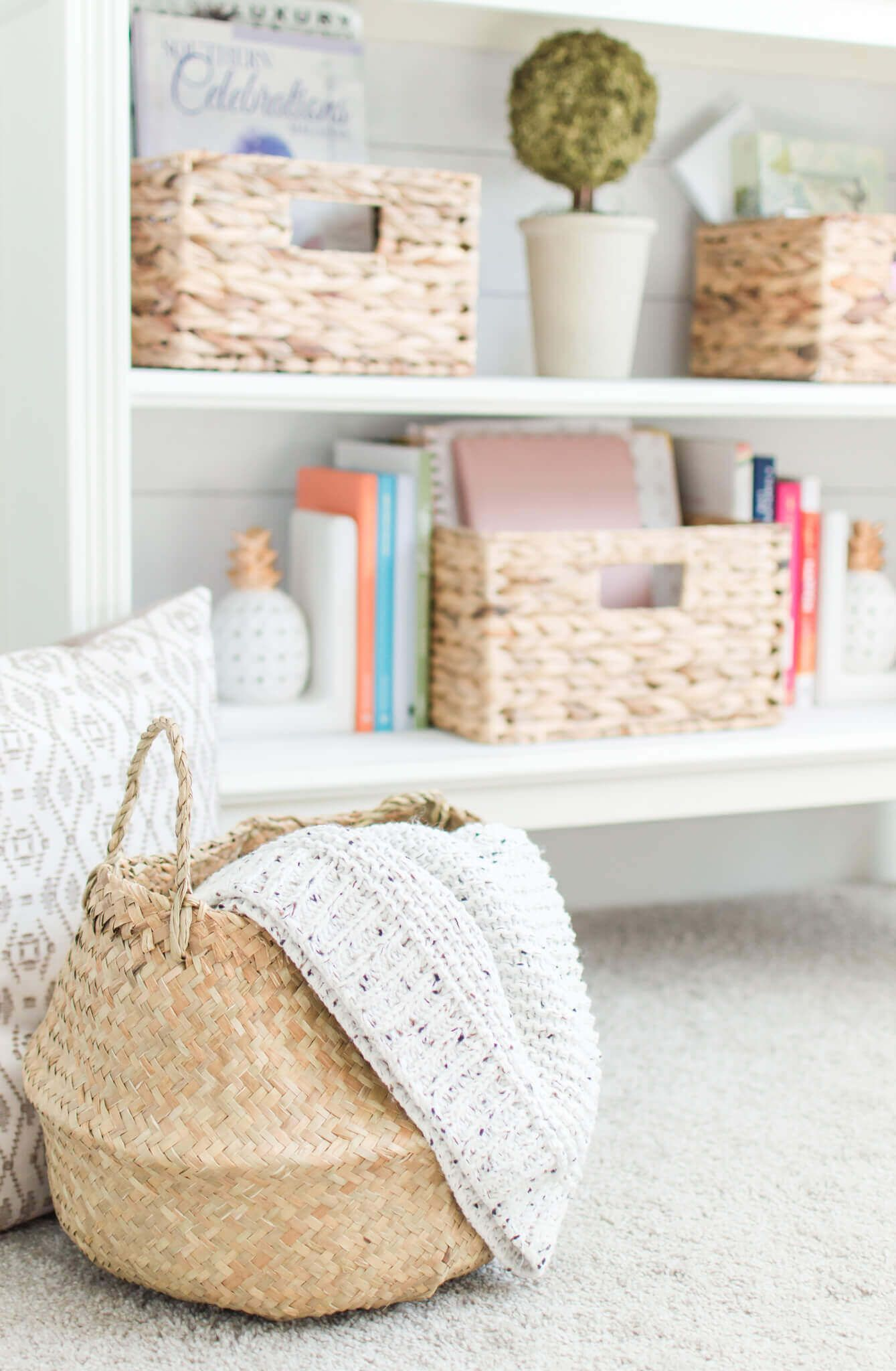 Modern Farmhouse Storage Baskets With Wayfair Solutions Bookshelf Styling Decor