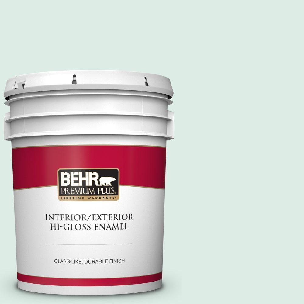 Behr Premium Plus 5 Gal M420 1 Sparkling Brook Hi Gloss Enamel Interior Exterior Paint 805005 Interior Paint Behr Patio Flooring