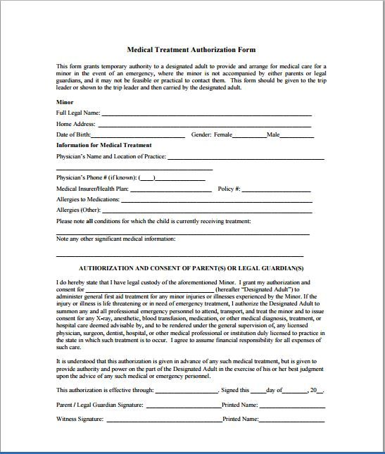 Child Consent Forms Medical Form Free Authorization For  Home