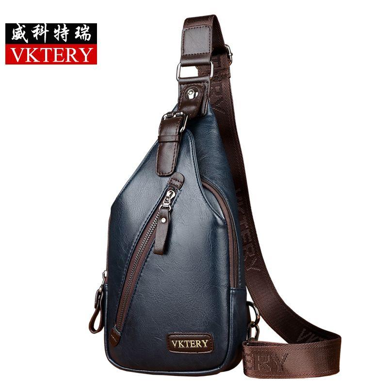 952585b01d30 VKTER Brand Bag Men Chest Pack Single Shoulder Strap Back Pack Leather  Sling Bag Man Crossbody Bags Fashion Male Chest Bag