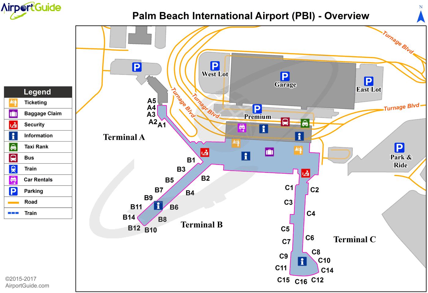 West Palm Beach Airport Terminal Map West Palm Beach   Palm Beach International (PBI) Airport Terminal
