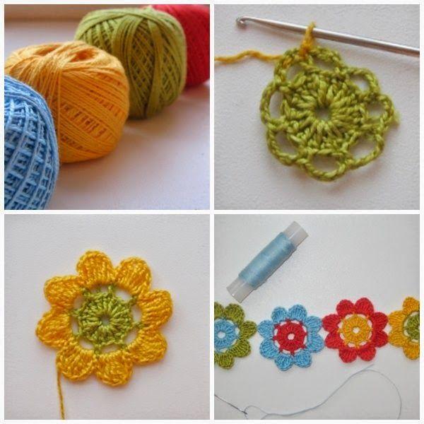 Brazalete Flores Arco Iris de Crochet - Patrones Crochet | Bisuteria ...