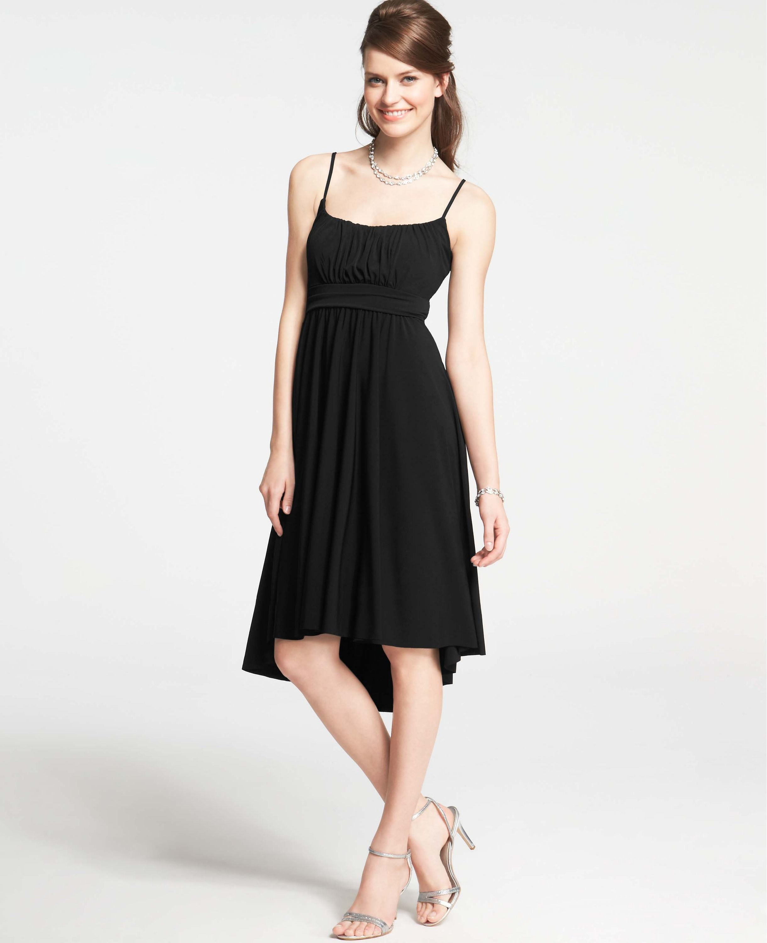 Shirred Jersey Spaghetti Strap Dress | Ann Taylor | Outfits ...
