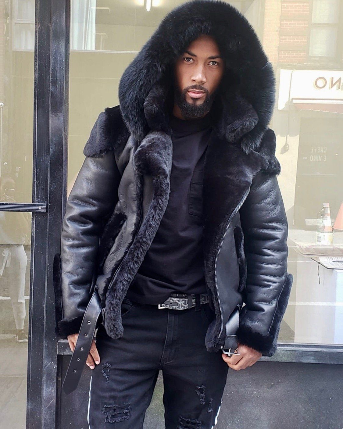 Men Shearling Black Biker Style With Black Fox Fur Hood Fur Leather Jacket Mens Shearling Jacket Mens Fur Coat [ 1407 x 1125 Pixel ]