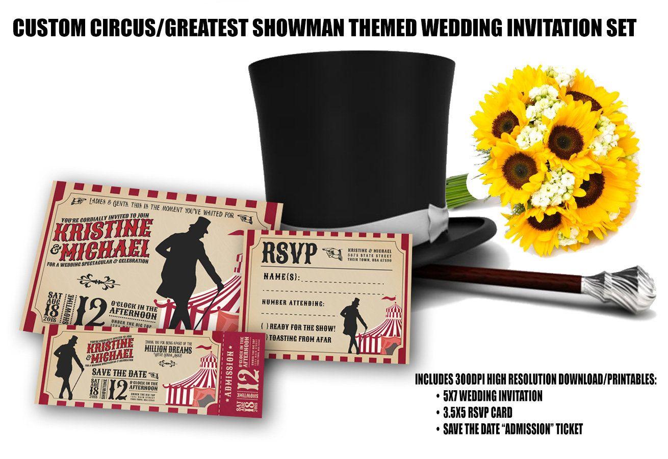 Custom Greatest Showman Circus Themed Wedding Invitation Rsvp Save The Date Printable Wedding Invitations Rsvp Wedding Invitations Wedding Invitation Templates
