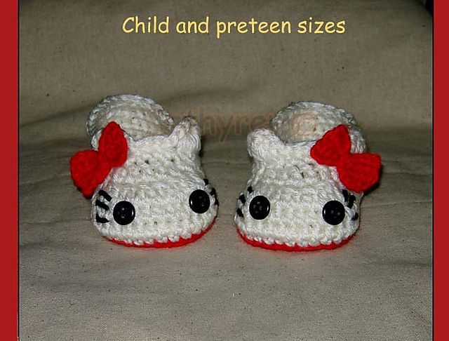 Hello Kitty Slippers Sizes for Child-Preteen pattern by Cathy Ren ...