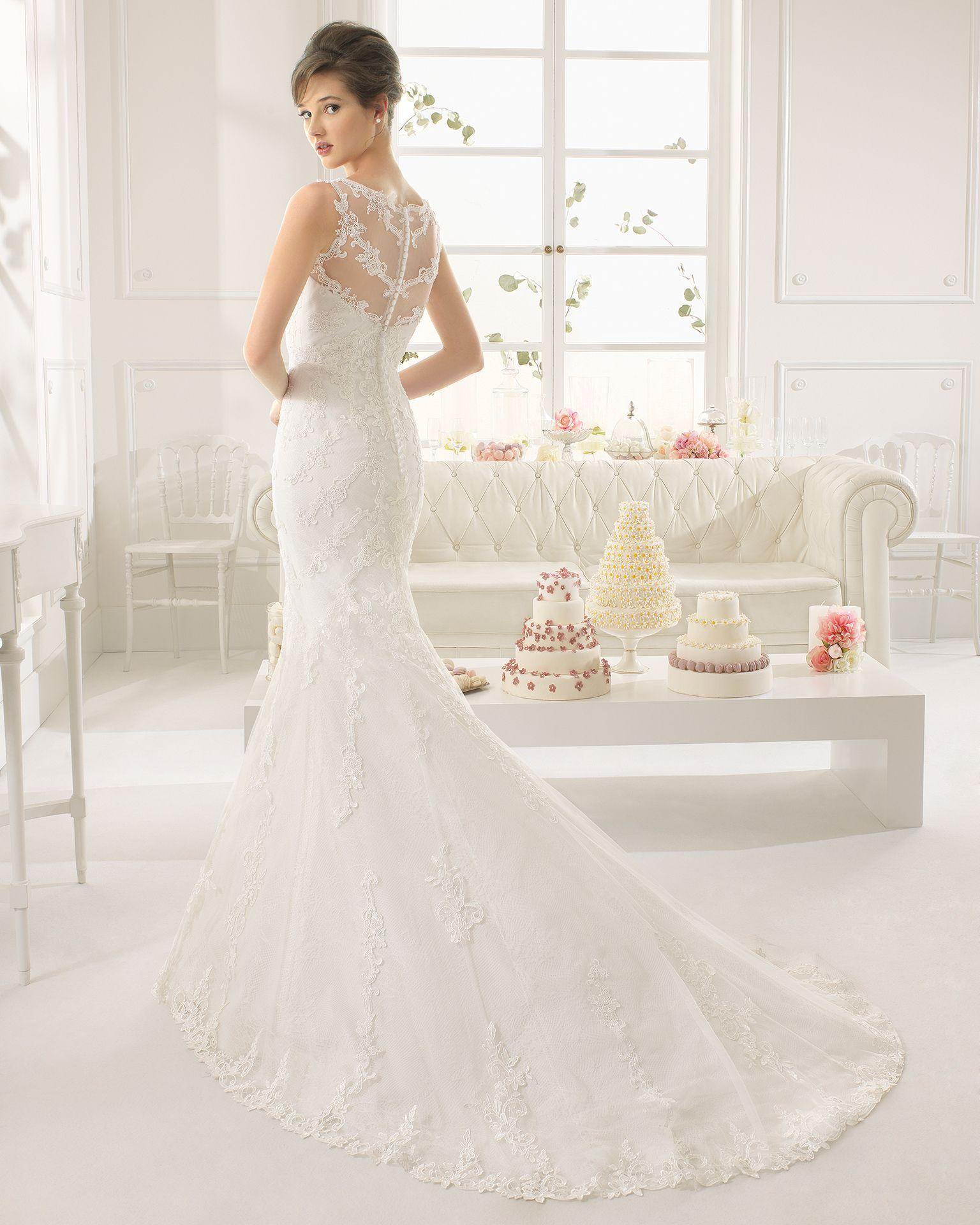 Aloe vestido de novia corte sirena