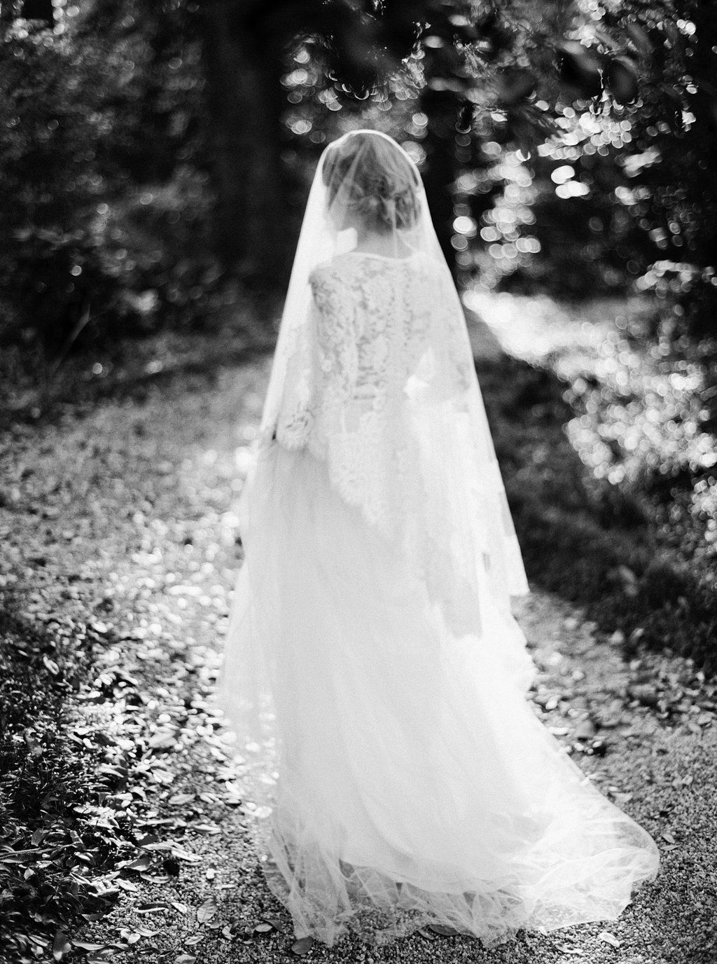 Long veil wedding dresses  Lace wedding dress and veil by Emily Riggs image by Erich McVey