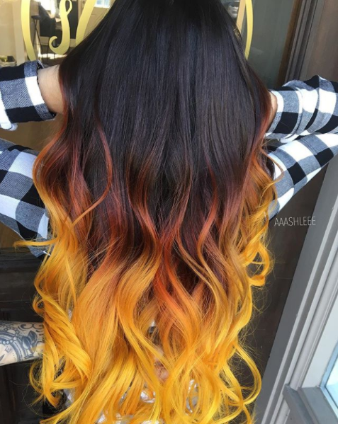 Black To Brown To Yellow Ombre Hair Unnatural Hair Color Yellow Hair Color Ombre Hair