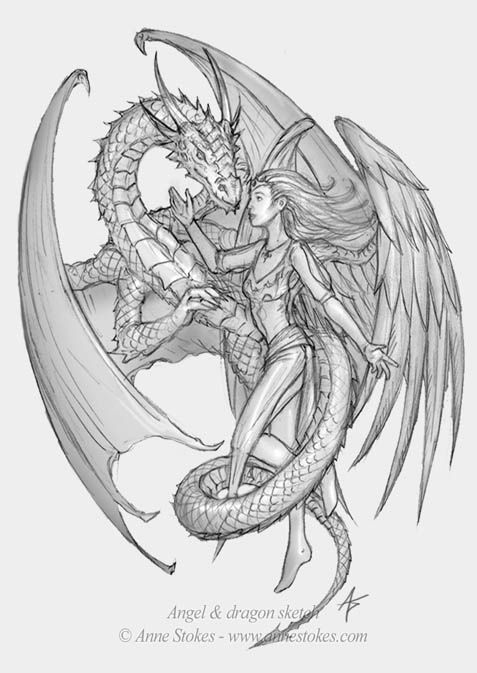Angel and dragon sketch by Ironshod