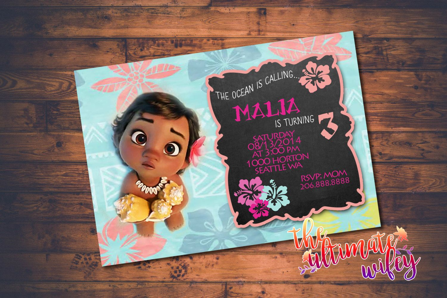Baby Moana CUSTOMIZED Birthday Invitation By TheUltimateWifey Party Luau 1st