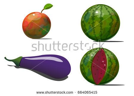 Four different fruits and vegetables. Among them, two watermelons, - whole and cut. So there is a zucchini and an apple with a petal.