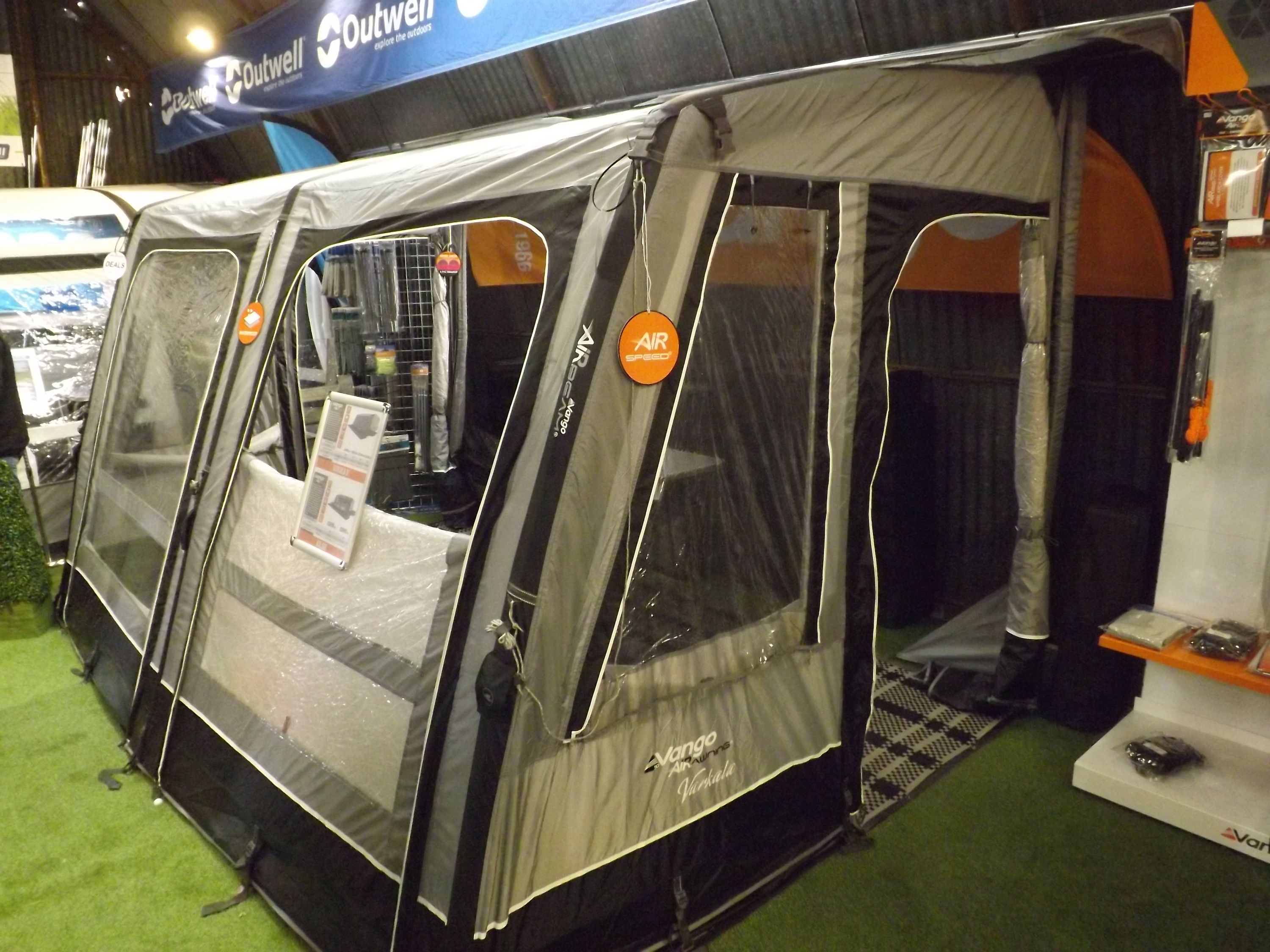 Vango AirBeam Varkala Inflatable Caravan Awning In Our Tamworth Showroom