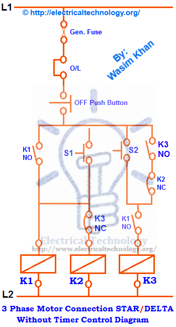 3 phase electric water heater wiring diagram for a switched outlet three motor connection star/delta without timer power & control diagrams | star delta ...