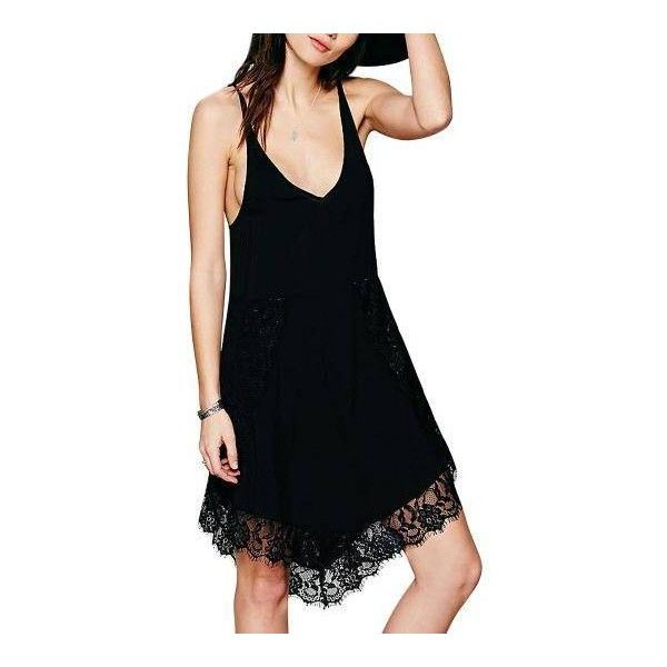 Yoins Black Cami Dress ($12) ❤ liked on Polyvore featuring dresses, spaghetti strap dress, lace cami dress, strap dress, strappy dress and fishtail dress