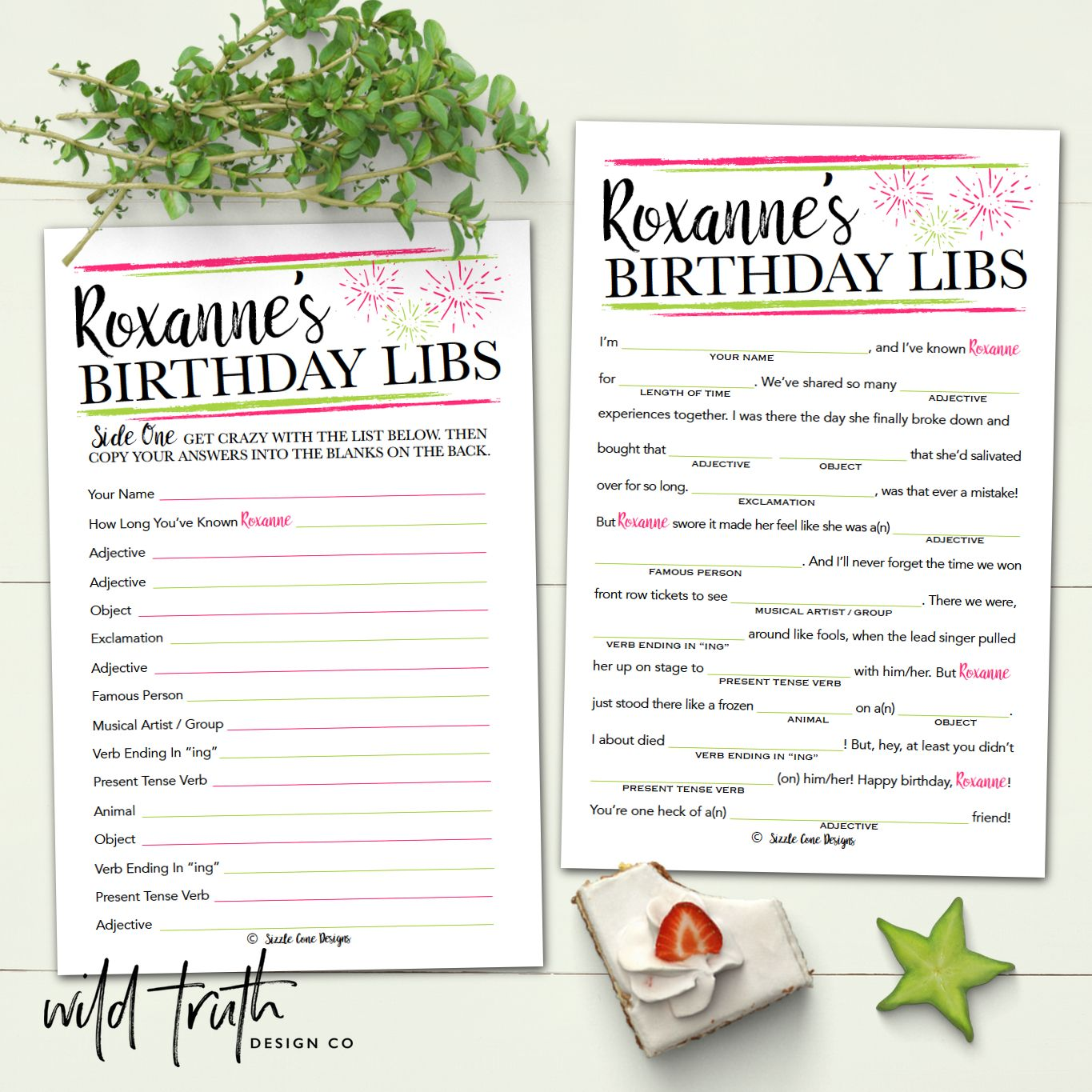 Personalized Birthday Game For Adults - Mad Lib [Printable Or Printed #104A]