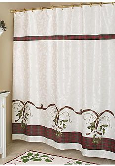 Lenoxa Holiday Nouveau Collection Shower Curtain And Hooks S