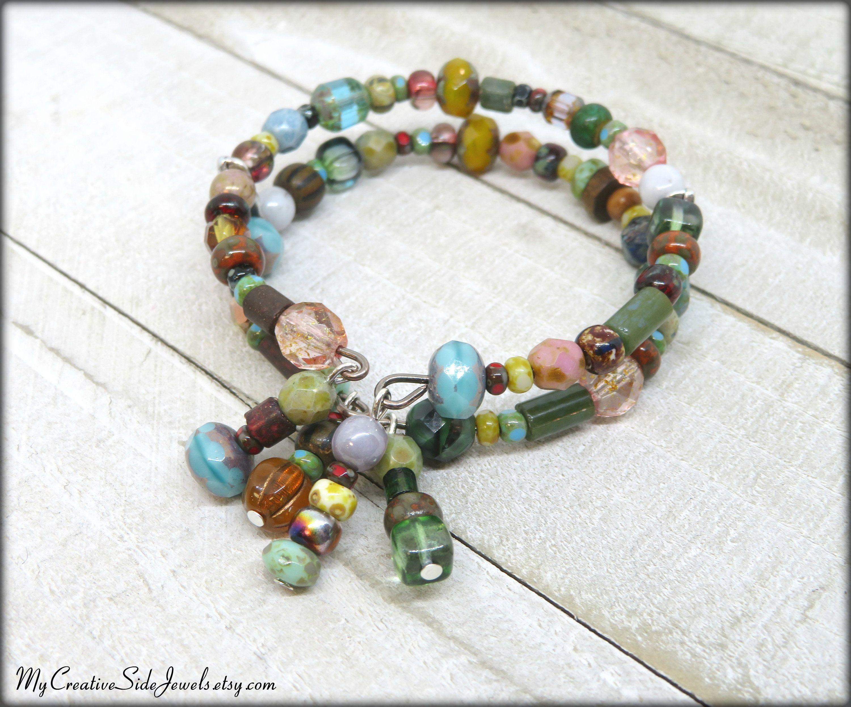 Colorful Beaded Memory Wire Bangle Bracelet Boho Chic Czech Etsy Glass Bangle Bracelets Wire Bangles Glass Bangles