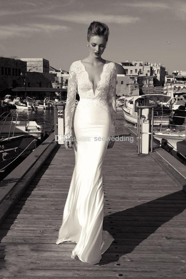 0602640750f89 Vintage Inbal Dror 2014 Wedding Dresses Plunging V Neckline Sheer Lace Long  Sleeve Wedding Gowns Beach Bridal Dress for Destination Wedding