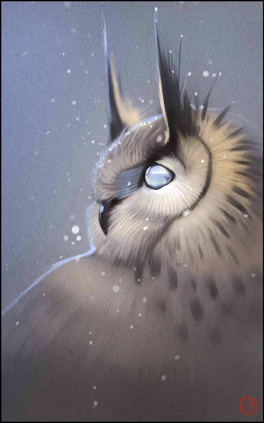 Blind owl by GaudiBuendia familiar for wizard sorcerer