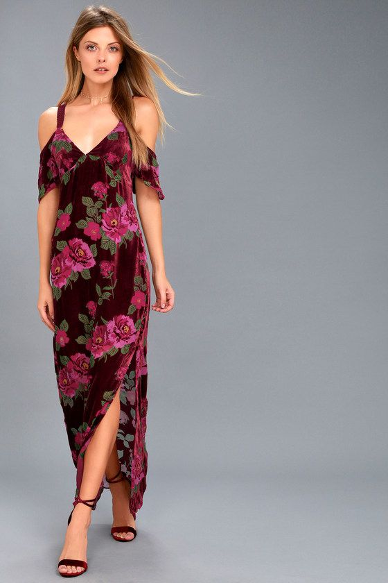 7f7a80e6fa8f Slip into the Rahi Cali Bouquet Burgundy Floral Print Off-the-Shoulder Maxi  Dress for instant romance! Stunning burgundy overlay