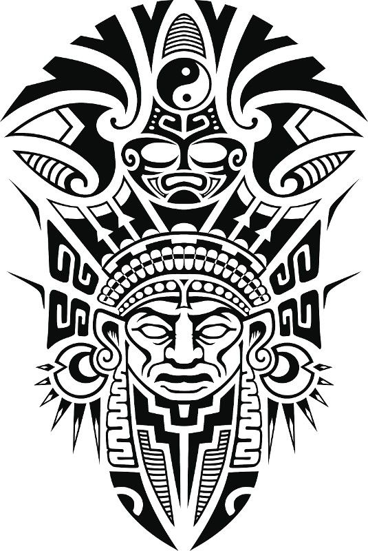 Ancient Tribal Mask Vector Illustration Diseño Tattoo Vorlagen