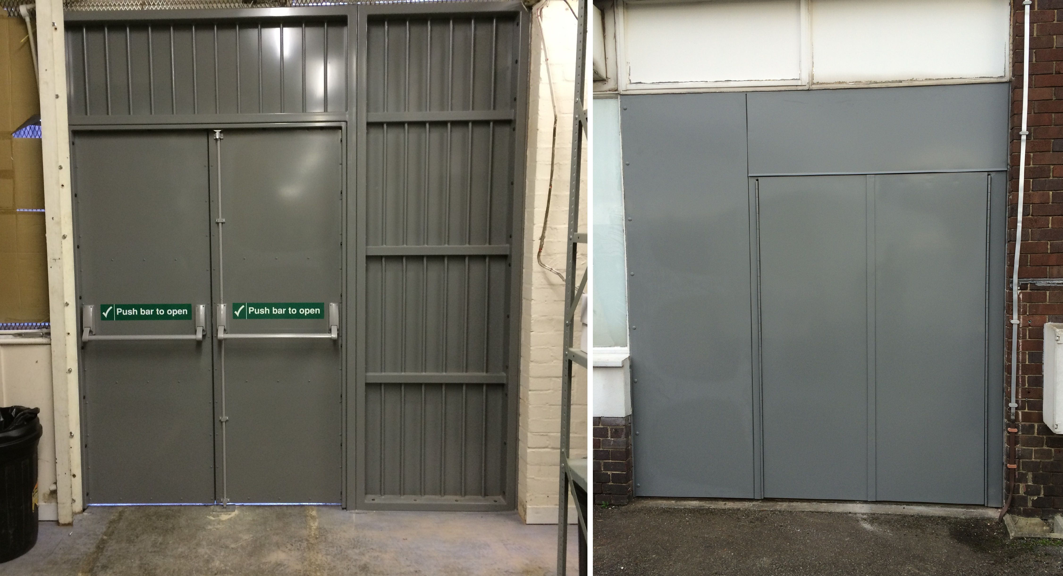 Our RSG8100 Double Fire Exit Security Doors, Heavy Duty Fabricated  Construction With Piano Hinges,