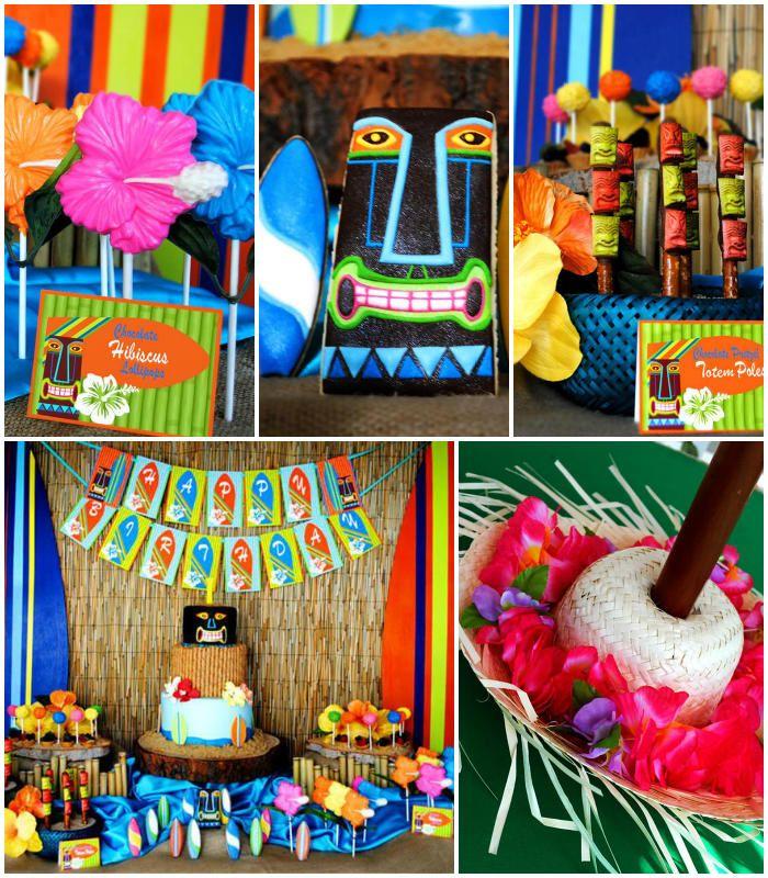 Tiki Luau Summer Beach Swim Party Planning Ideas Decorations