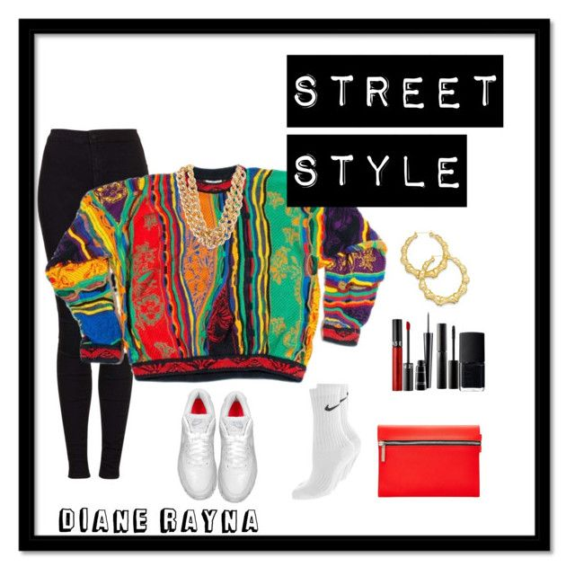 """""""Street Style #197"""" by dianerayna ❤ liked on Polyvore featuring Topshop, COOGI, NIKE, Thalia Sodi, Sephora Collection, MAC Cosmetics, Surratt, Victoria Beckham, NARS Cosmetics and vintage"""