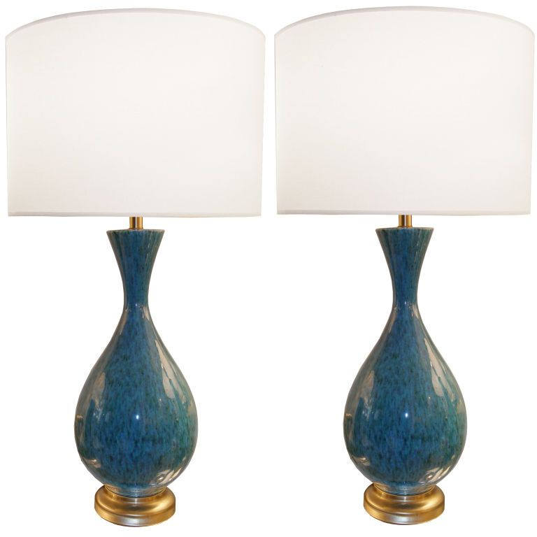 Pair Of Italian Blue Ceramic Lamps 1stdibs Com Blue Ceramic Lamp Lamp Ceramic Lamp