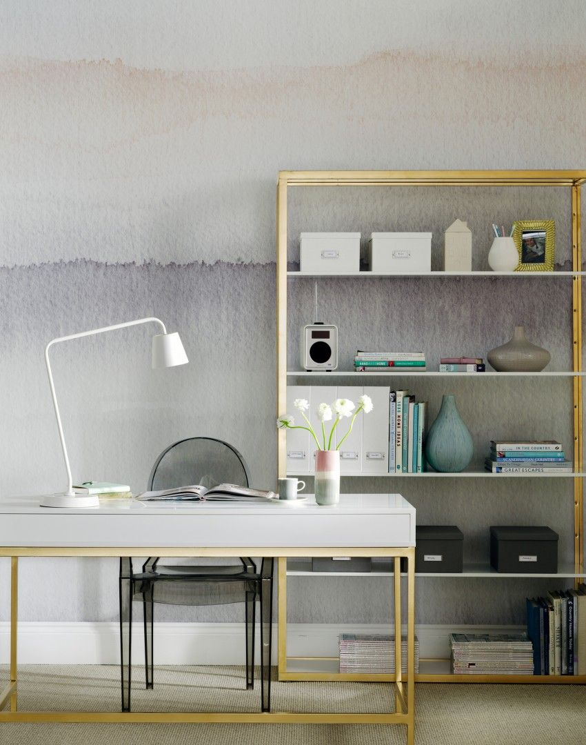 Ombre home office with gold luxe desk