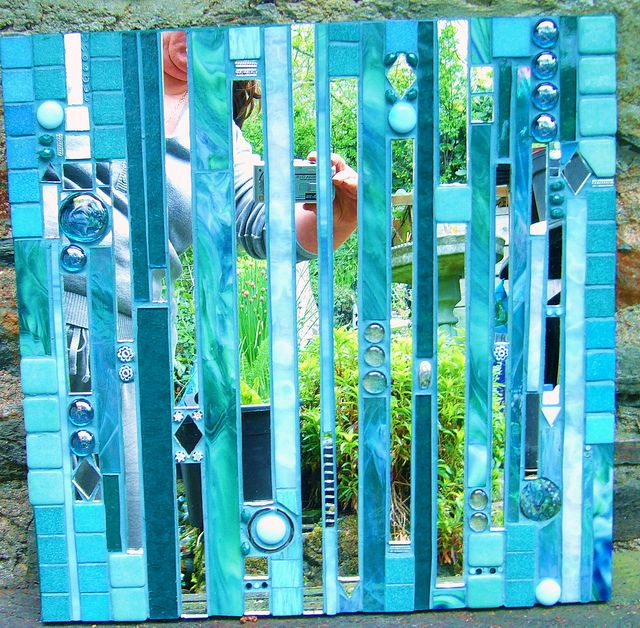 green & turquoise metropolis mirror