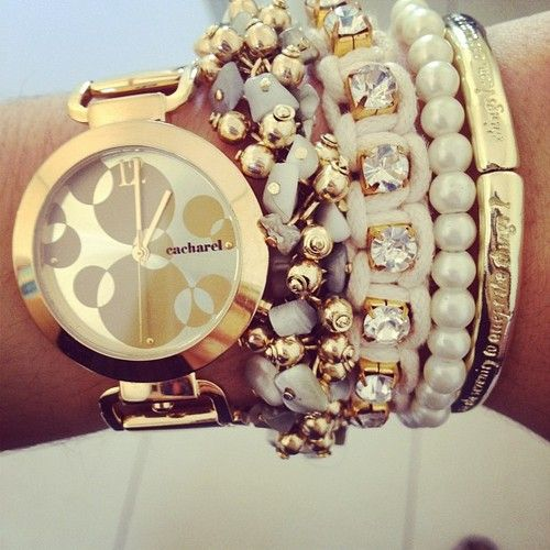 Stacking ivory and gold + Cacharel watch