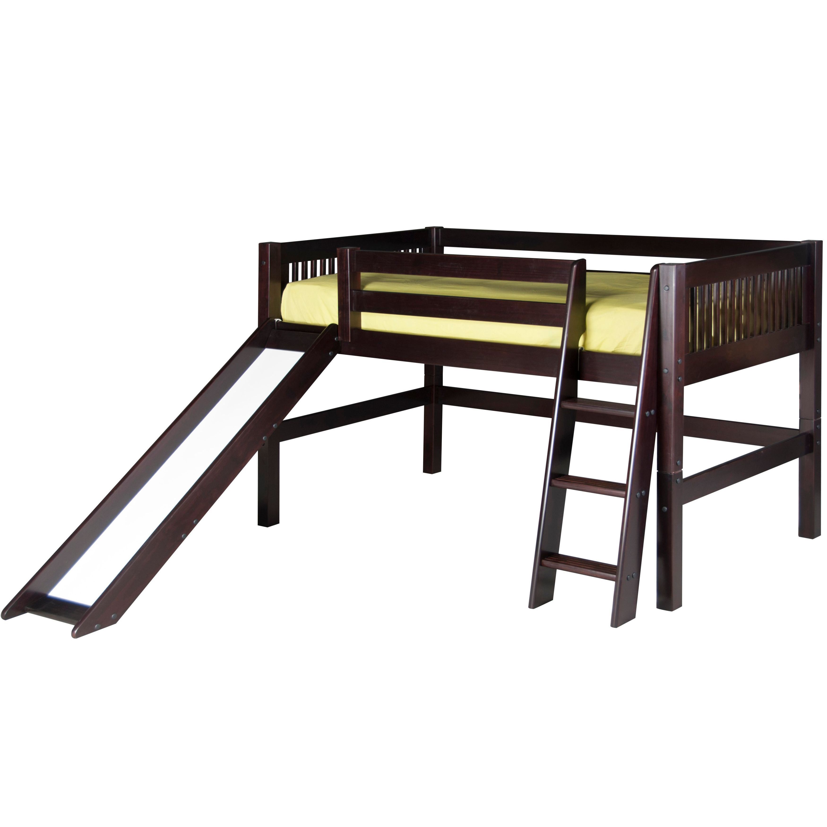 Twin low loft bed with slide  Camaflexi Twinsize Cappuccino Finish Low Loft Bed With Slide and